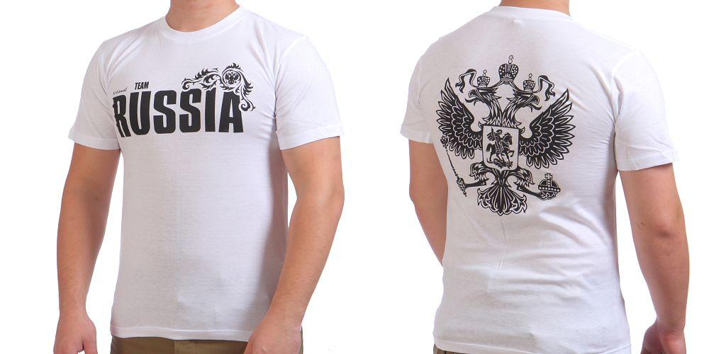 Купить белую футболку «RUSSIA»