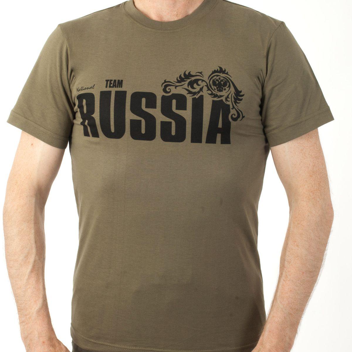 Купить футболки «RUSSIA» хаки