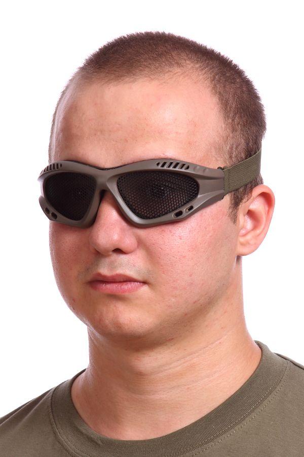 Купить защитные очки Goggle хаки-олива (сетка)