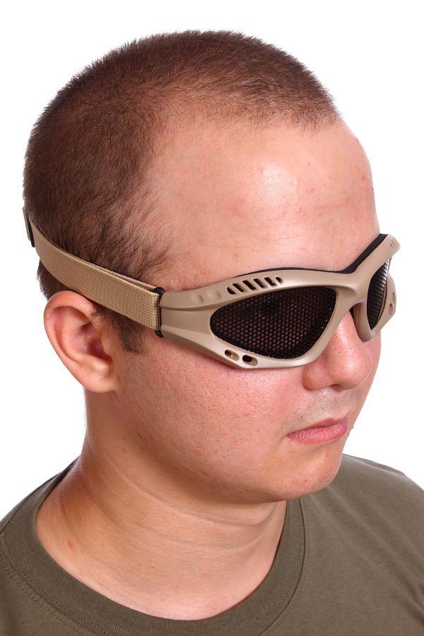 Купить защитные очки Goggle хаки-песок (сетка)